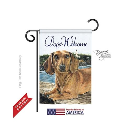 Breeze Decor 60003 Pets Dachshund 2-Sided Impression Garden Flag - 13 x 18.5 in.