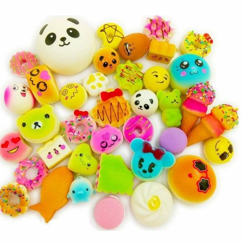 Wanruisi 30 Pack Squishy Toy Jumbo Food Squishise Cat Hamburgers Cream Scented Slow Rising Squishies Charms, Kid Toy, Lovely Toy, Stress Relief...