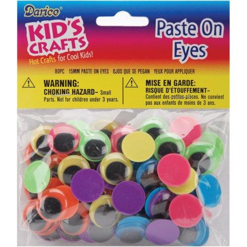 Paste-On Wiggle Eyes 15mm 80/Pkg-Black On Neon