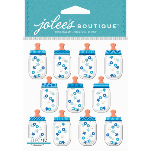 Jolee's Cabochon Dimensional Repeat Stickers-Baby Boy Bottle Dome