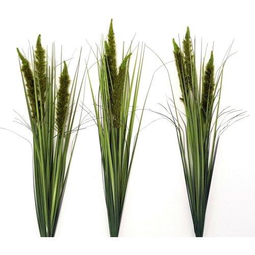 Set of 3 Artificial Grass & Green Cattail Spray - 80cm - Faux Foliage