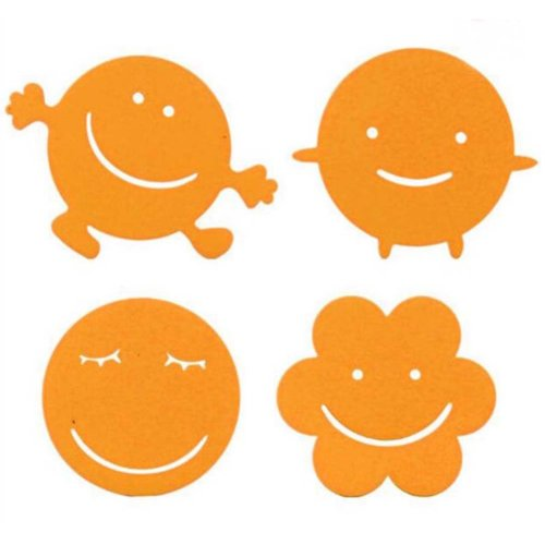 Set of 4 Lovely Smile Silicone Pot Holders  Insulation Mats Bowl Mats Cup Mats