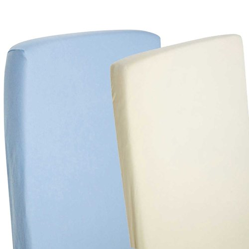 4x Fitted Sheets Compatible With Chicco Next 2 Me 100% Cotton- Blue / Cream
