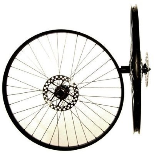 "Pair 26"" Q/R DISC(+ ROTORS)& RIM BRAKE BIKE CASSETTE WHEELS 7/8/9/10sp BLACK NEW"