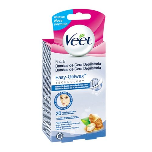 Veet Facial Hair Removing Wax Strips for Sensitive Skin (Pack of 20)