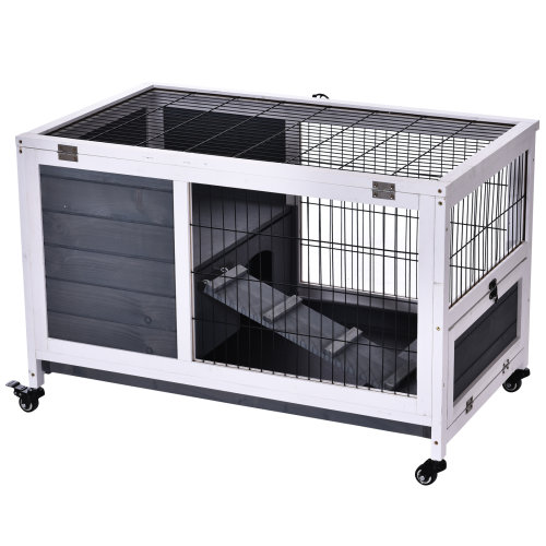 PawHut Wood Indoor Rabbit Hutch Elevated 2-Floor Guineas Pigs Cage w/ Wheels