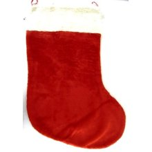 Stocking Plain Plush 90cm With Fur Cuff - Christmas Stockings Festive Sack -  stocking 90cm fur cuff christmas plain plush stockings festive sack