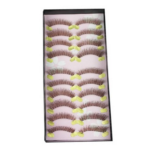New Natural Fake Eyelashes Long BROWN False Eyelashes 10 Pairs