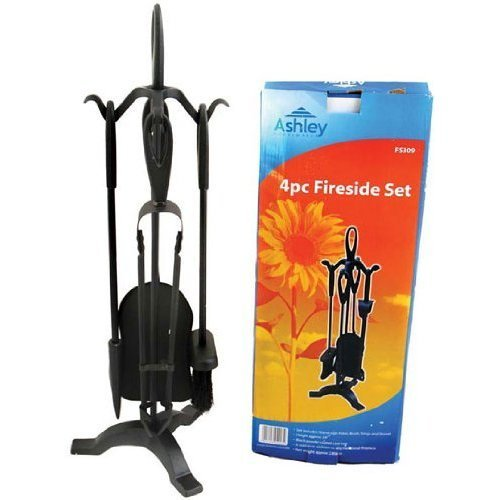 Blackspur Bb-fs309 4-piece Fireside Set, Black -  blackspur fireside set bbfs309 4piece