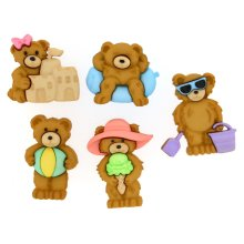 Summer Bears - Novelty Craft Buttons / Embellishments by Dress It Up