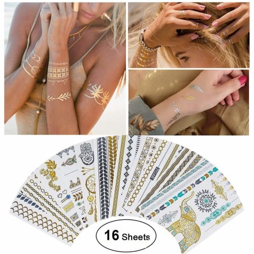 Tattoo Waterproof Metallic Temporary Tattoo 16sheets in Gold Silver Sticker Body Fake Jewelry Tattoos Over 200 designs for Women Teens Girls Body Art