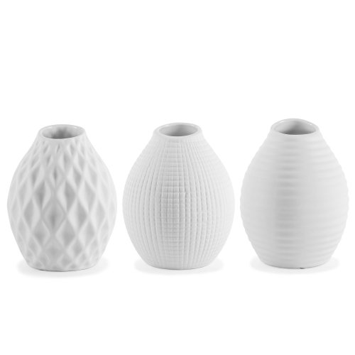 Nixie Porcelain Vase Trio | White Patterned Vases