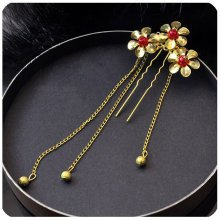 Set Of 2 Charming Traditional Chinese Wedding Tassels Hair Combs Accessory