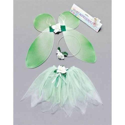 Green Girls Fairy Tutu Set -  fairy fancy dress set green tutu childs wings costume