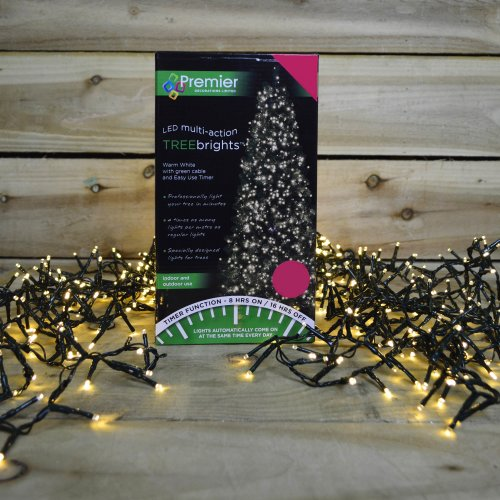 1000 LED 25m Premier TreeBrights Christmas Tree Lights with TIMER in Warm White