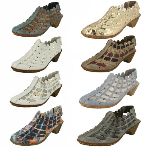 Ladies Rieker Sling Back Shoes With Woven Detail 46778