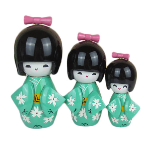 3 Pcs Lovely Japanese Kimono Girl Wooden Dolls With Cherry Blossoms, Light Green