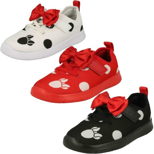 Girls Clarks Disney Minnie Mouse Bow Detailed Trainers Ath Bow - F Fit