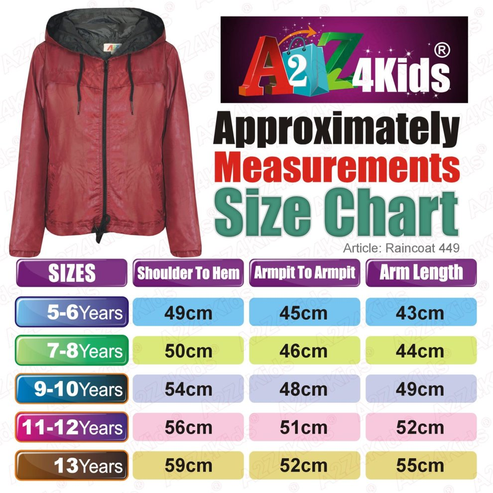 Kids Girls Boys Windbreaker Jackets Red Panelled Hooded Raincoats Age 5-13 Years