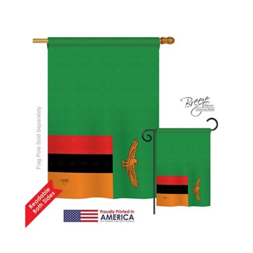 Breeze Decor 08284 Zambia 2-Sided Vertical Impression House Flag - 28 x 40 in.