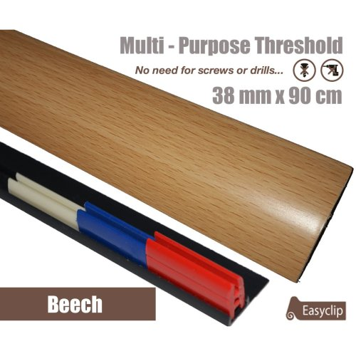 Beech Multi Purpose Threshold Strip 38x90cm Adhesive Clip System