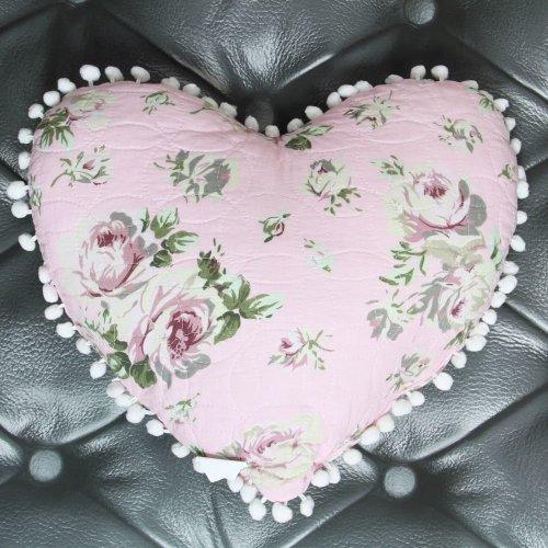 Pink Chintz Heart Cushion