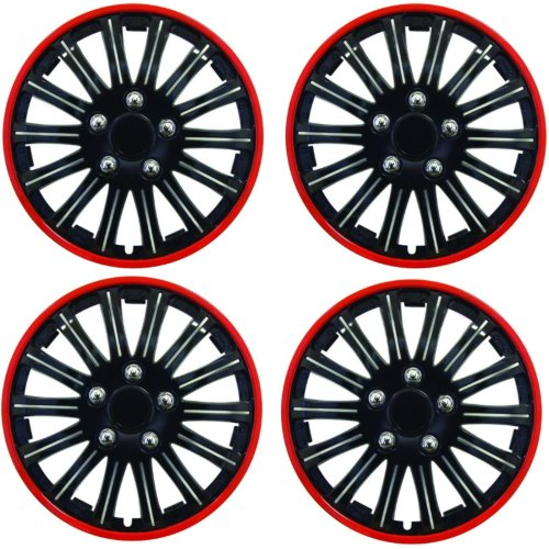 "Streetwize Car Wheel Trim Set 13"" Black Red Ring Rims Set Of 4 Hub Caps Covers"