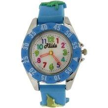 Relda Analogue Childrens Boy's 3D Dinosaur Light Blue Silicone Strap Watch REL82