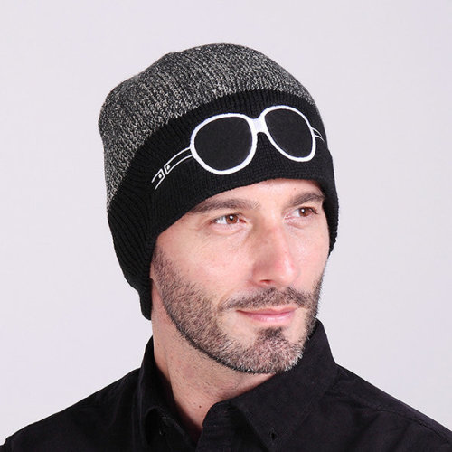 7ba549ead31 Mens Cartoon Glasses Pattern Knitted Beanie Hat Casual Sport Woolen Warm  Ski Hat on OnBuy