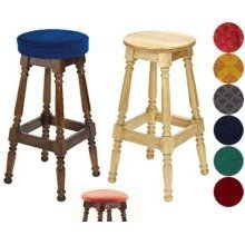 Tamara Wood Bar Stool - Padded / Unpadded Black Faux Leather Button Seat Dark Oak