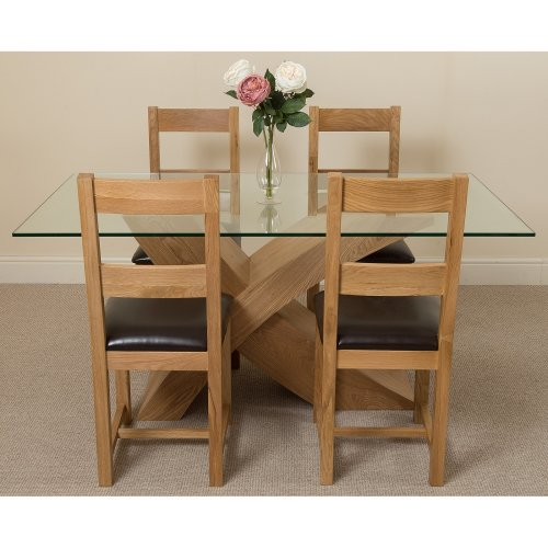 Valencia Small Oak 160cm Glass Dining Table with Lincoln Dining Chairs