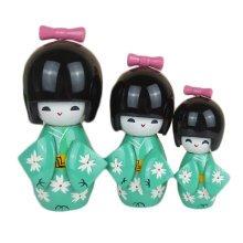 3 Pcs Lovely Japanese Kimono Girl Wooden Dolls With Cherry Blossoms, Light Green