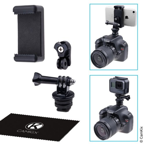 CamKix Hot Shoe Mount Adapter Kit - Attach your Phone or GoPro Hero to the Flash Mount of your DSLR Camera - Record your Photo Shoot or use Phone...