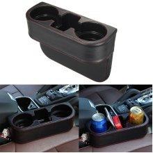 Artificial Leather Seat Slit Cup Holder Beverage Storage Bracket Drink Key Phone Sundry Case
