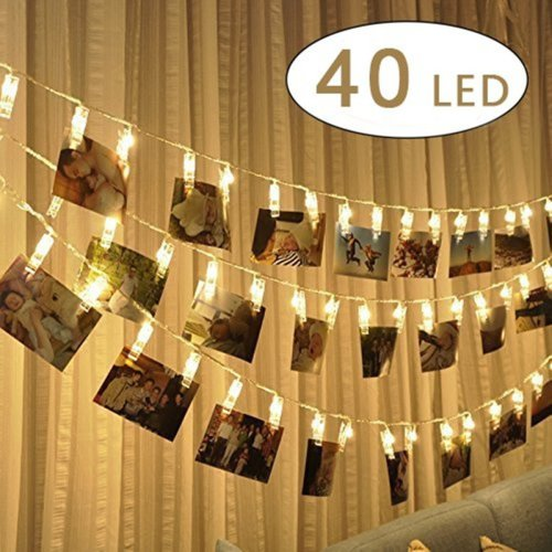 LED Photo Clip String Lights - 40 Photo Clips 5M Battery Powered LED Picture Lights for Decoration Hanging Photo, Notes, Artwork