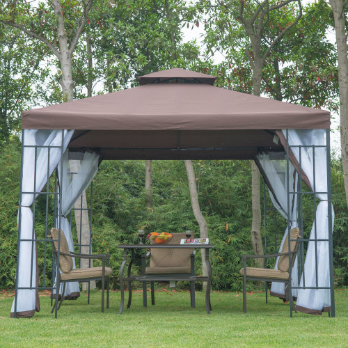 Outsunny 3 x 3m Metal Gazebo Marquee Steel Frame w/ mesh sidewall - Coffee