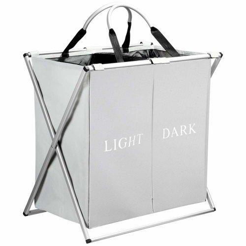 IHOMAGIC Double Sections Large Laundry Basket, Foldable Washing Basket, Clothes Storage Basket Bin Hamper (Grey)