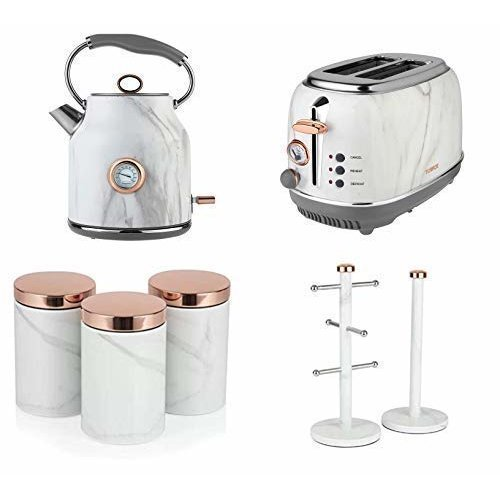 Rose Gold & White Marble Bottega 2 Slice Toaster,1.7L Jug Kettle & 3 Canisters, Towel Pole & 6 Mug Tree Set