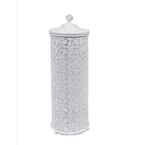 Taymor 02-D1096W Lace Three Roll Toilet Tissue Cylinder with Lid & Pull-Up Rod