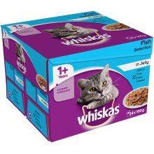 Whiskas Pouch 1+ Fish Selection In Jelly 24x100g (Pack of 2)