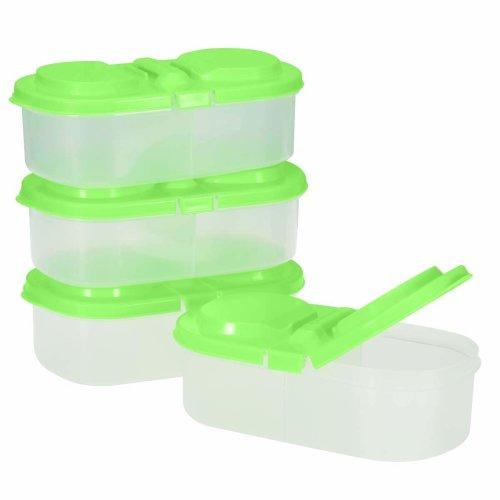 2d28961ad66f BESTONZON 4pcs 2 Grid Reusable Plastic Food Storage Containers with  Lids,Refrigerator Crisper Box Fresh Fruit Snacks Storage Box(Random Color)