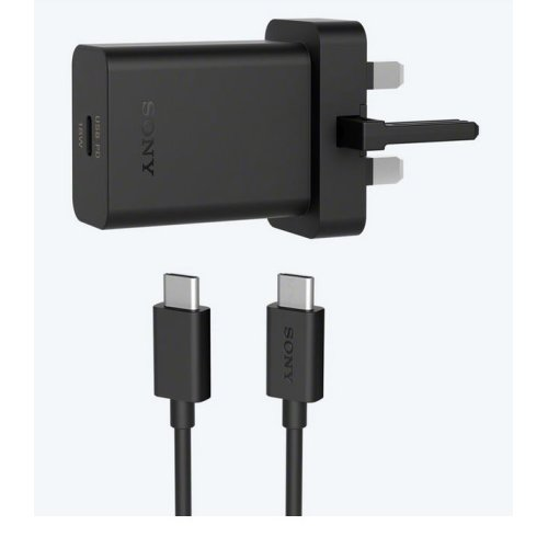 Official Sony UCH32C UK 3 Pin USB PD Type C Mains Charger with UCB24 USB-C to USB-C Cable - Black