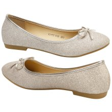 Fearne Womens Flat Bow Detail Glitter Dolly Shoes