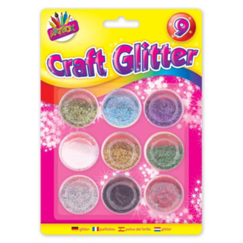 Childrens Kids 9 x Pots of Glitter Christmas Xmas Art & Crafts Cards Sprinkles