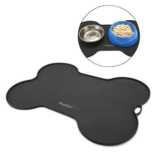 Pet Food Mat,RoyalCare Feeding Mat for Dogs and Cats Premium FDA Grade Silicone Anti-slip & Waterproof Black