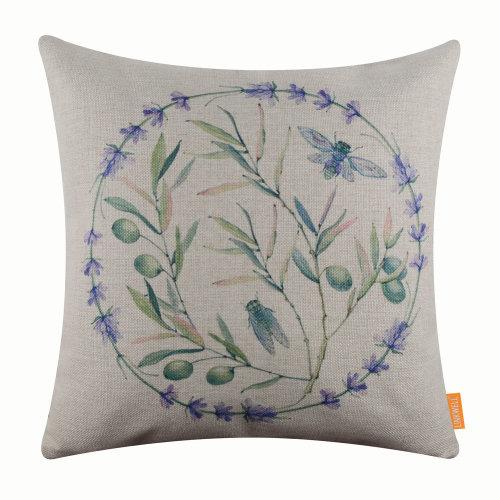 """18""""x18"""" Purple Lanveder Wreath Burlap Pillow Cover Cushion Cover"""