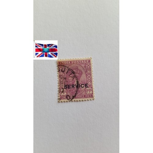 """India 1932 """" King George V - Official """"SERVICE"""" overprint"""" 1'3 Indian anna"""
