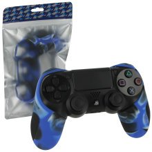 ZedLabz SG-1 silicone rubber grip cover case skin for Sony PS4 controllers - camo blue