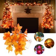 Battery Powered 1.65M 10LEDs Fall Leaves Shaped