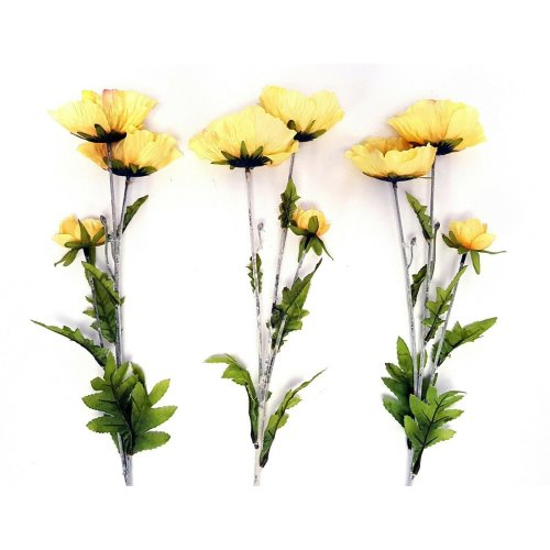 Set of 3 Artificial Yellow Country Poppy Stems - 70cm - Summer Flower Poppies